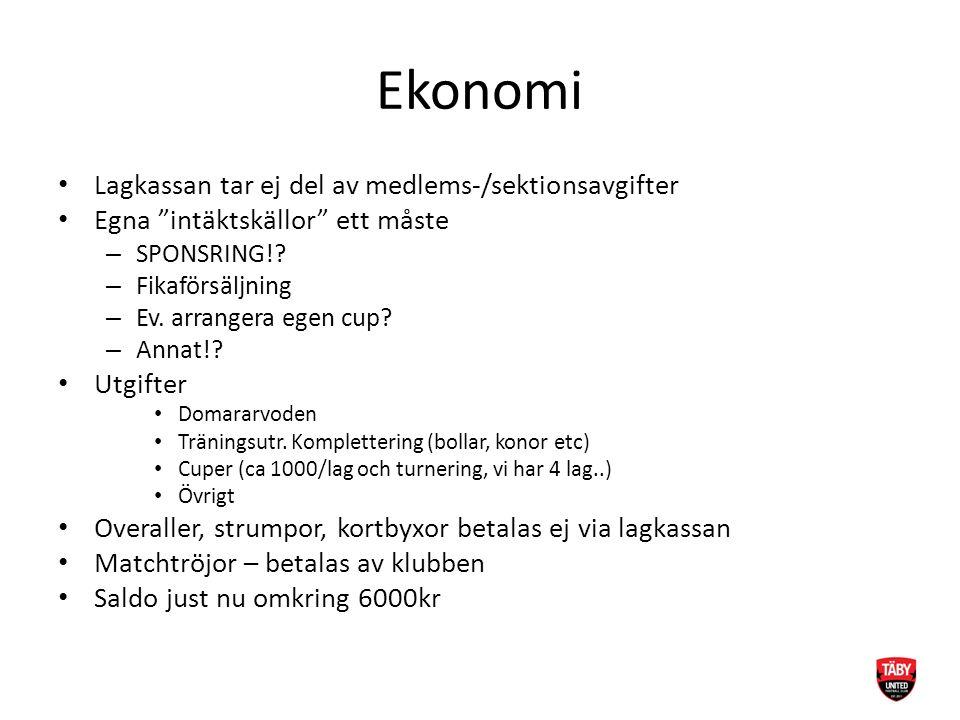 """Ekonomi Lagkassan tar ej del av medlems-/sektionsavgifter Egna """"intäktskällor"""" ett måste – SPONSRING!? – Fikaförsäljning – Ev. arrangera egen cup? – A"""