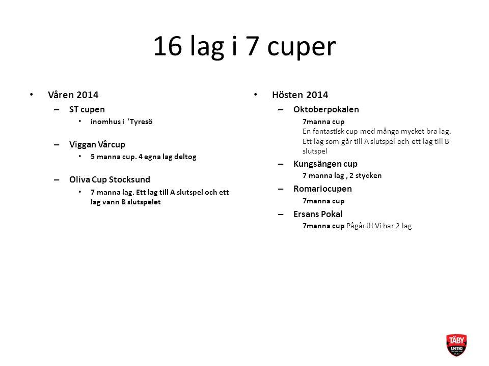 16 lag i 7 cuper Våren 2014 – ST cupen inomhus i 'Tyresö – Viggan Vårcup 5 manna cup. 4 egna lag deltog – Oliva Cup Stocksund 7 manna lag. Ett lag til