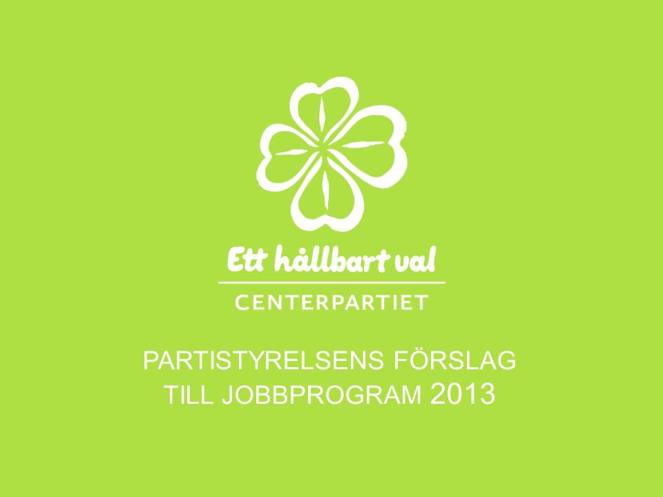 PARTISTYRELSENS FÖRSLAG TILL JOBBPROGRAM 2013