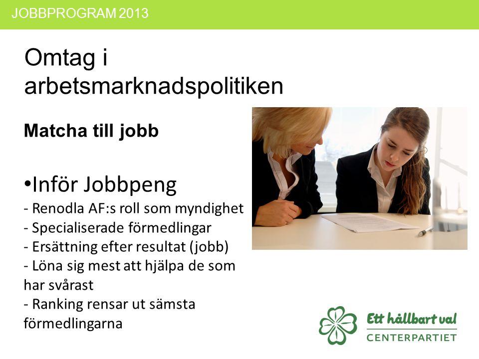 JOBBPROGRAM 2013 Omtag i arbetsmarknadspolitiken Matcha till jobb Inför Jobbpeng - Renodla AF:s roll som myndighet - Specialiserade förmedlingar - Ers