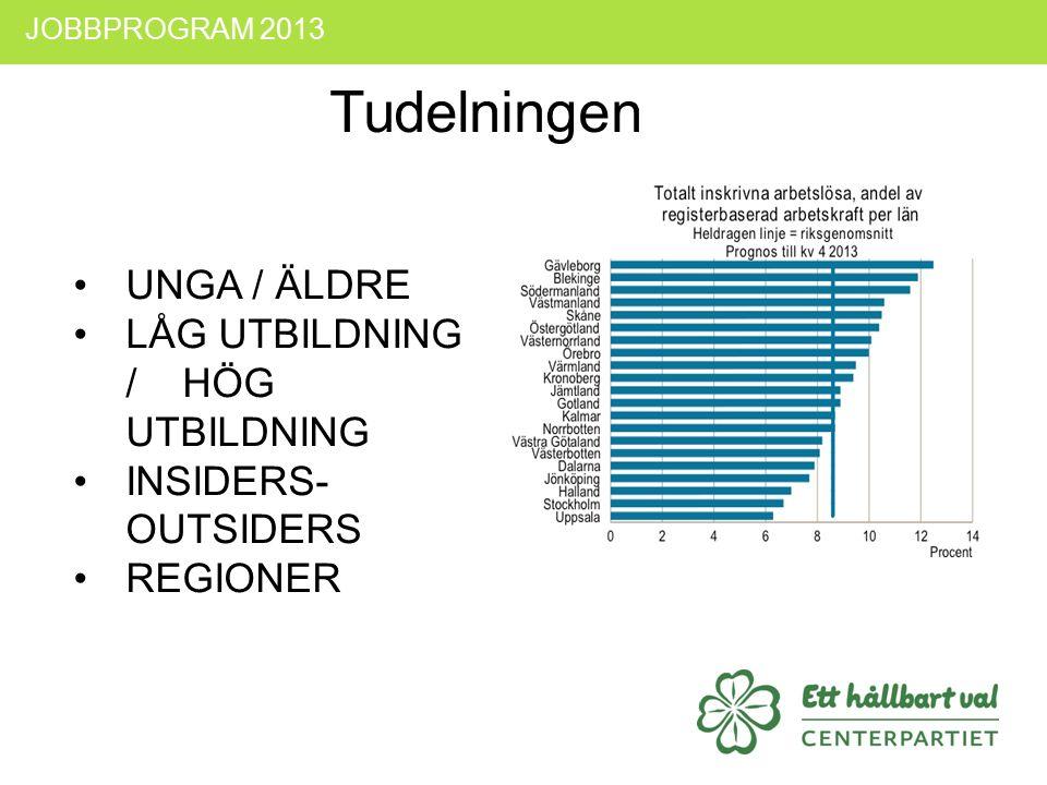 UNGA / ÄLDRE LÅG UTBILDNING / HÖG UTBILDNING INSIDERS- OUTSIDERS REGIONER JOBBPROGRAM 2013 Tudelningen