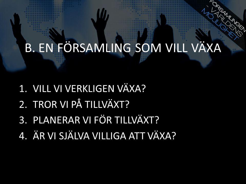 B. EN FÖRSAMLING SOM VILL VÄXA 1.VILL VI VERKLIGEN VÄXA.