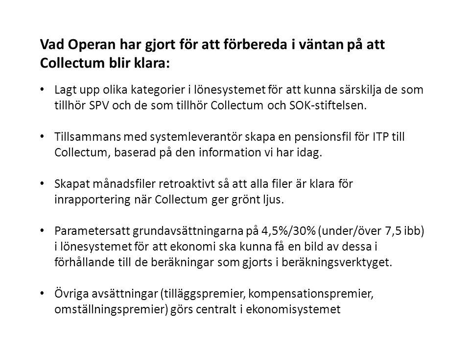 Vad Operan har gjort för att förbereda i väntan på att Collectum blir klara: Lagt upp olika kategorier i lönesystemet för att kunna särskilja de som tillhör SPV och de som tillhör Collectum och SOK-stiftelsen.