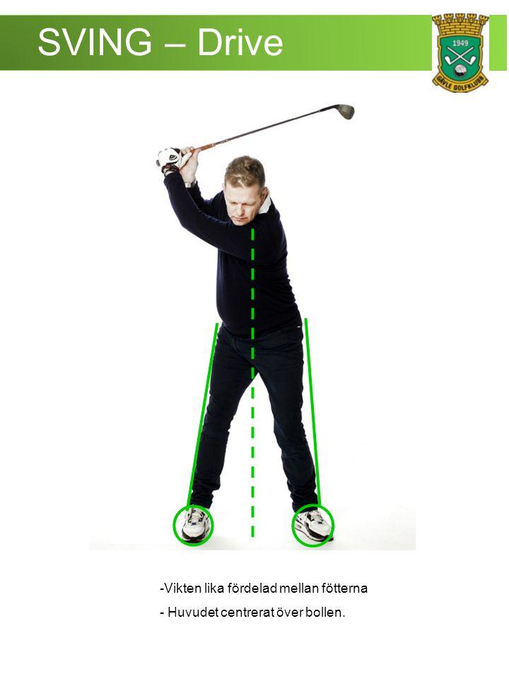 SVING – Drive -Vikten lika fördelad mellan fötterna - Huvudet centrerat över bollen.