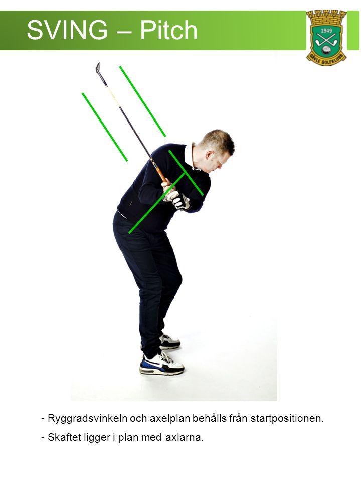 SVING – Pitch - Ryggradsvinkeln och axelplan behålls från startpositionen.