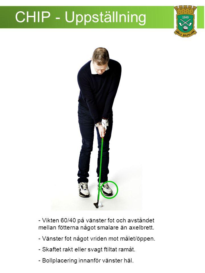 CHIP - Uppställning - Vikten 60/40 på vänster fot och avståndet mellan fötterna något smalare än axelbrett.