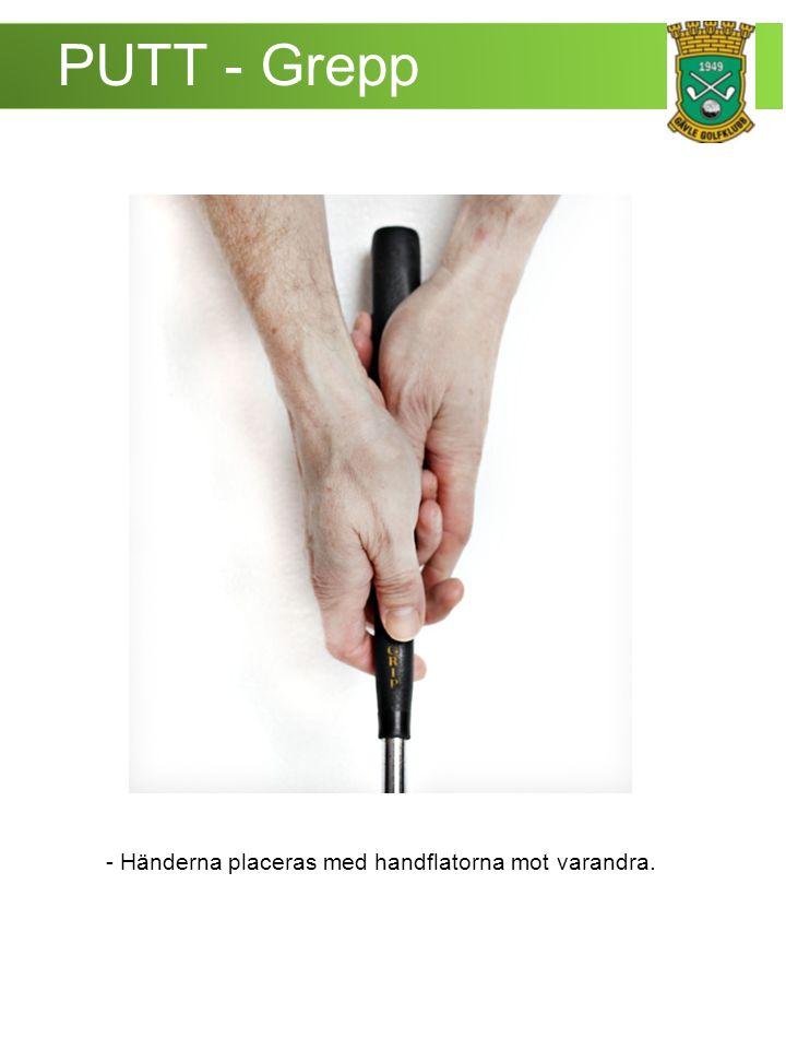 PUTT - Grepp - Händerna placeras med handflatorna mot varandra.