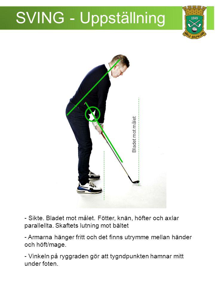 SVING – Pitch -Vikten flyttas mot vänster fot.- Huvudet behåller sin centrerade position.