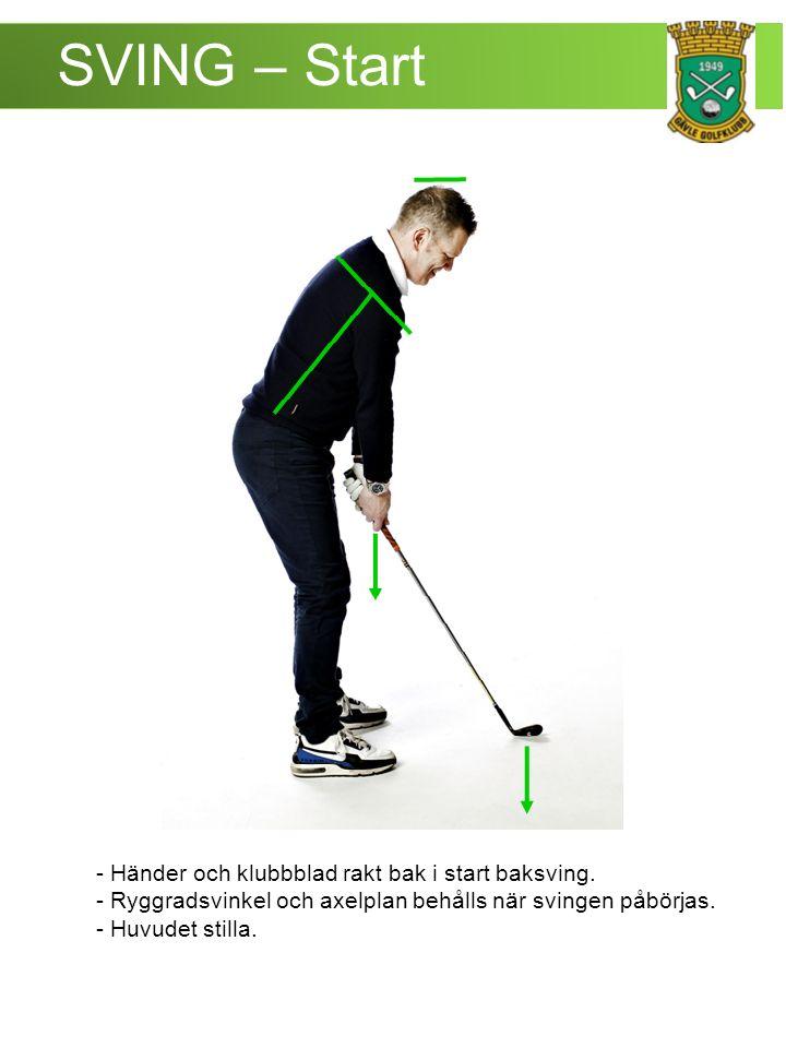 SVING – Chip - Klubbladet täcker händerna.- Vikten mitt på foten.