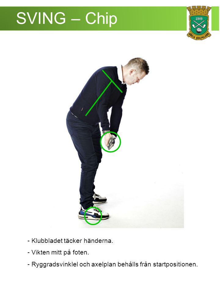 SVING – Chip - Klubbladet täcker händerna. - Vikten mitt på foten.