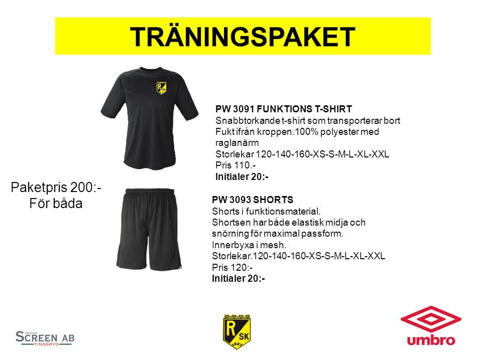 TRÄNINGSPAKET PW 3091 FUNKTIONS T-SHIRT Snabbtorkande t-shirt som transporterar bort Fukt ifrån kroppen.100% polyester med raglanärm Storlekar 120-140-160-XS-S-M-L-XL-XXL Pris 110.- Initialer 20:- PW 3093 SHORTS Shorts i funktionsmaterial.