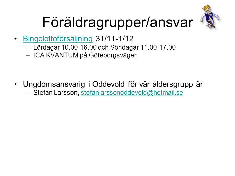 Föräldragrupper/ansvar Bingolottoförsäljning 31/11-1/12Bingolottoförsäljning –Lördagar 10.00-16.00 och Söndagar 11.00-17.00 –ICA KVANTUM på Göteborgsvägen Ungdomsansvarig i Oddevold för vår åldersgrupp är –Stefan Larsson, stefanlarssonoddevold@hotmail.sestefanlarssonoddevold@hotmail.se