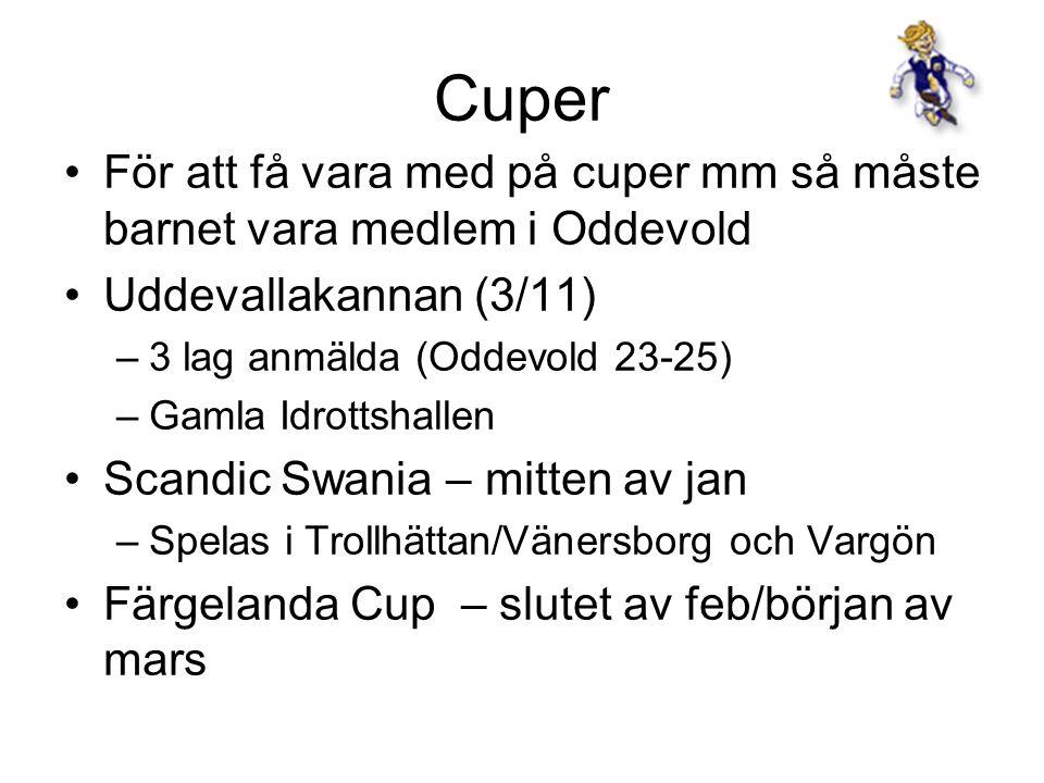 Cuper För att få vara med på cuper mm så måste barnet vara medlem i Oddevold Uddevallakannan (3/11) –3 lag anmälda (Oddevold 23-25) –Gamla Idrottshall