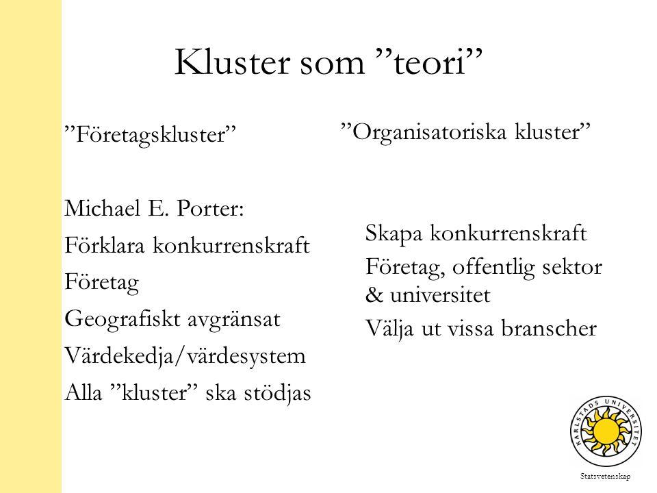 Statsvetenskap Kluster som teori Företagskluster Michael E.