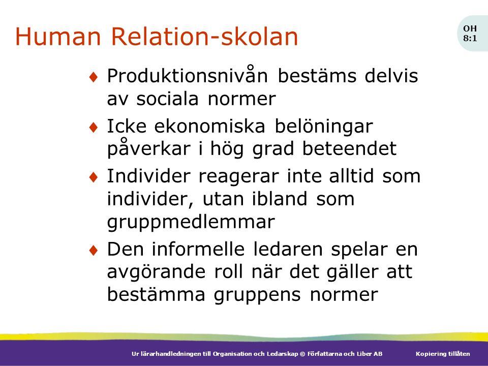 Ur lärarhandledningen till Organisation och Ledarskap © Författarna och Liber ABKopiering tillåten Human Relation-skolan Produktionsnivån bestäms del