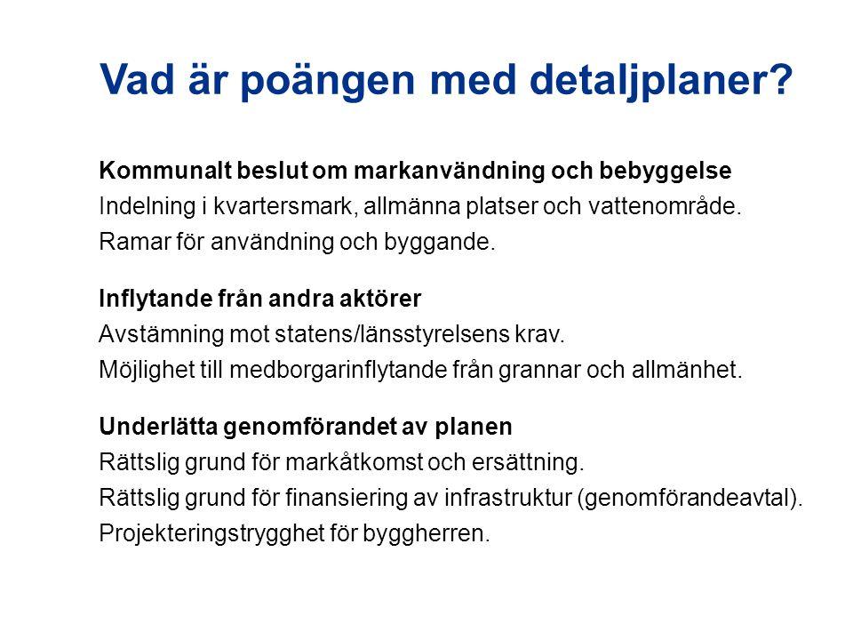 Kommunalt beslut om markanvändning och bebyggelse Indelning i kvartersmark, allmänna platser och vattenområde.