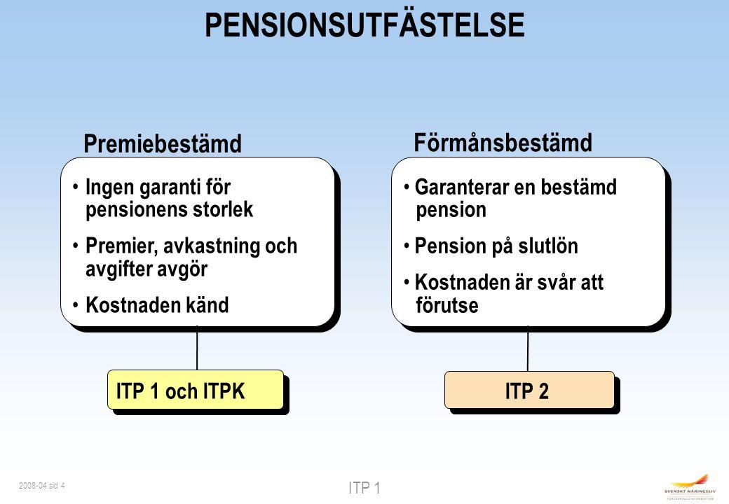 ITP 1 2008-04 sid 4 PENSIONSUTFÄSTELSE Förmånsbestämd Garanterar en bestämd pension Pension på slutlön Kostnaden är svår att förutse Premiebestämd Ingen garanti för pensionens storlek Premier, avkastning och avgifter avgör Kostnaden känd ITP 1 och ITPK ITP 2