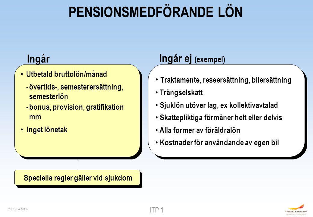ITP 1 2008-04 sid 17 EFTERLEVANDESKYDD Återbetalningsskydd - pension till efterlevande - utbetalning i minst 5 år och max 20 år Återbetalningsskydd - pension till efterlevande - utbetalning i minst 5 år och max 20 år Familjeskydd -max 4 bb/år -utbetalning max 20 år - åldersberoende premie Familjeskydd -max 4 bb/år -utbetalning max 20 år - åldersberoende premie Förmånstagare - make/a - sambo - barn Förmånstagare - make/a - sambo - barn