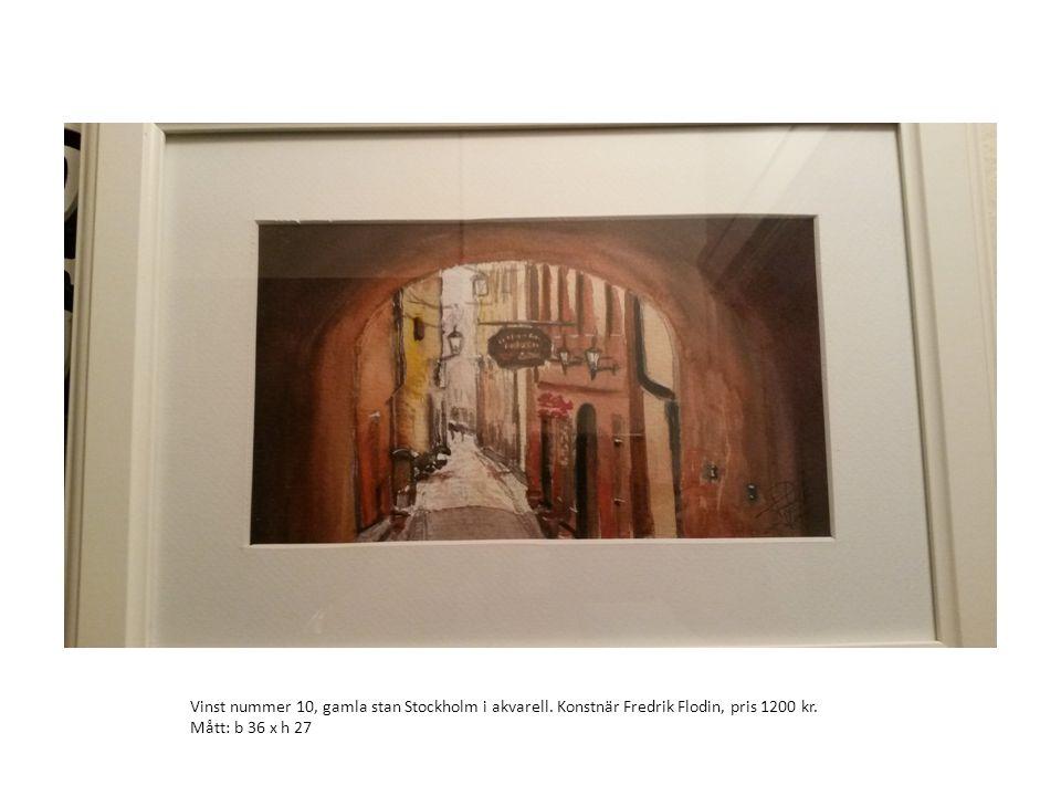 Vinst nummer 10, gamla stan Stockholm i akvarell. Konstnär Fredrik Flodin, pris 1200 kr. Mått: b 36 x h 27
