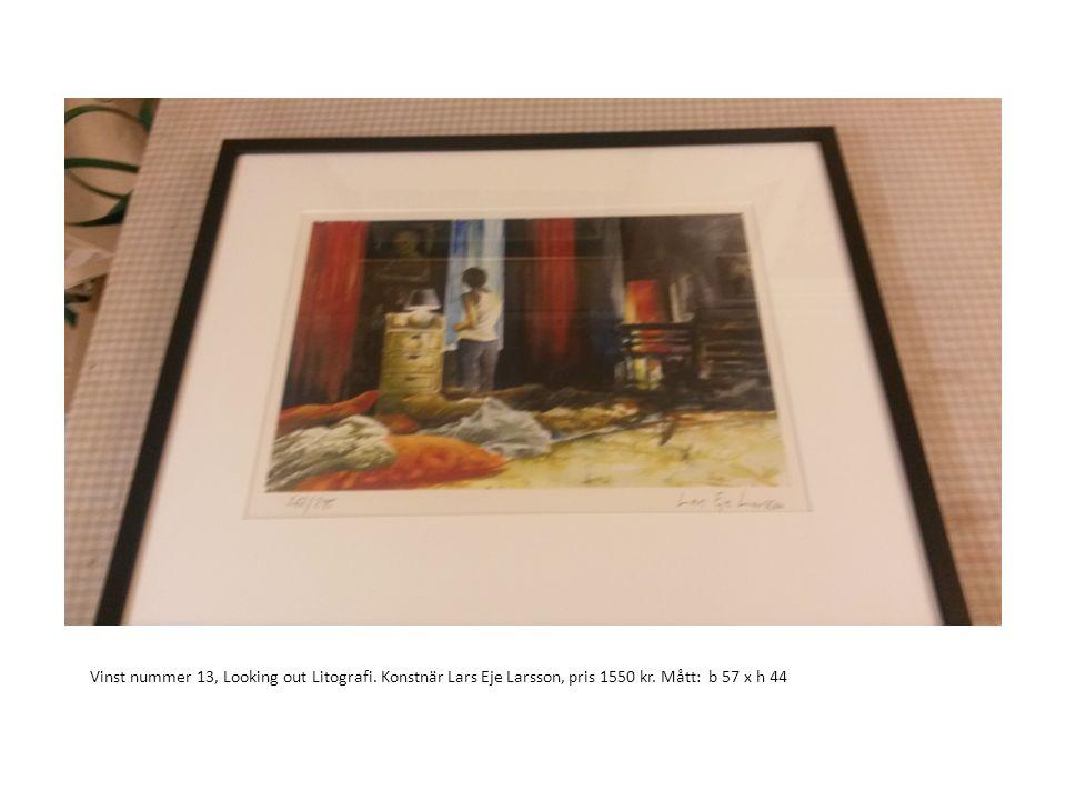 Vinst nummer 13, Looking out Litografi. Konstnär Lars Eje Larsson, pris 1550 kr. Mått: b 57 x h 44