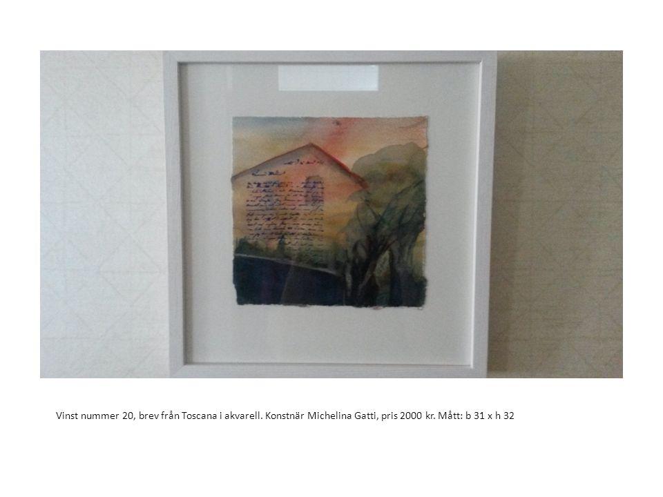Vinst nummer 20, brev från Toscana i akvarell. Konstnär Michelina Gatti, pris 2000 kr. Mått: b 31 x h 32