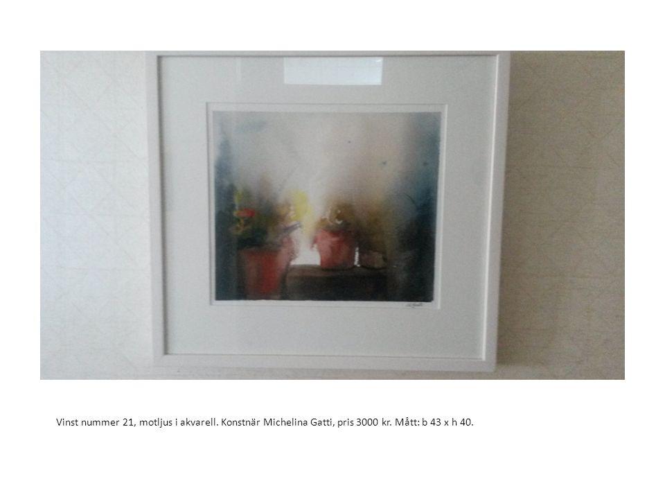 Vinst nummer 21, motljus i akvarell. Konstnär Michelina Gatti, pris 3000 kr. Mått: b 43 x h 40.