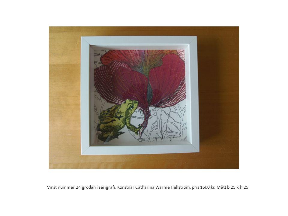 Vinst nummer 24 grodan i serigrafi. Konstnär Catharina Warme Hellström, pris 1600 kr. Mått b 25 x h 25.