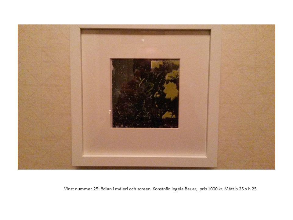 Vinst nummer 25: ödlan i måleri och screen. Konstnär Ingela Bauer, pris 1000 kr. Mått b 25 x h 25