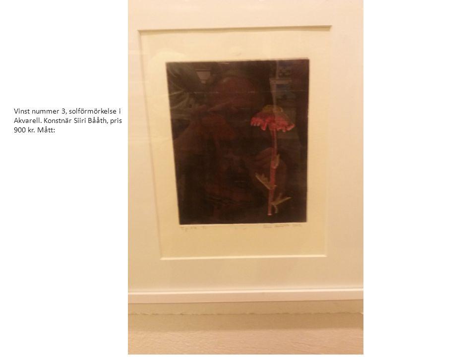 Vinst nummer 4, Christiansö i Akvarell. Konstnär Birgitta Ekdahl Pris 1700 kr. Mått: