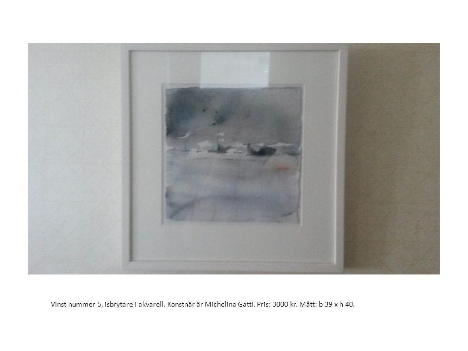 Vinst nummer 5, isbrytare i akvarell. Konstnär är Michelina Gatti. Pris: 3000 kr. Mått: b 39 x h 40.