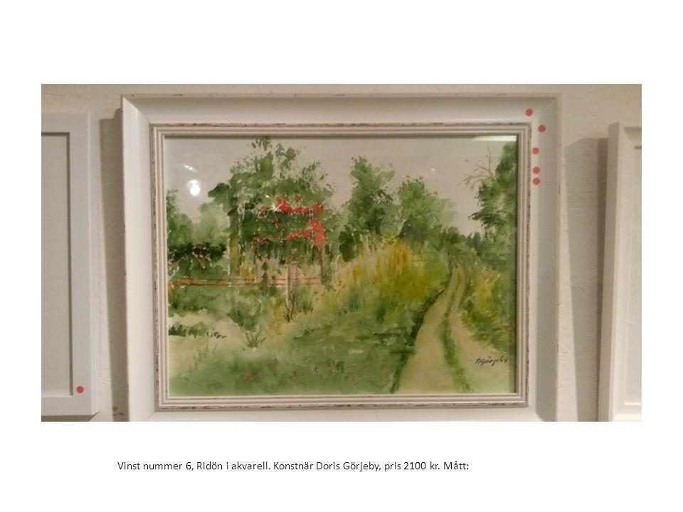 Vinst nummer 6, Ridön i akvarell. Konstnär Doris Görjeby, pris 2100 kr. Mått: