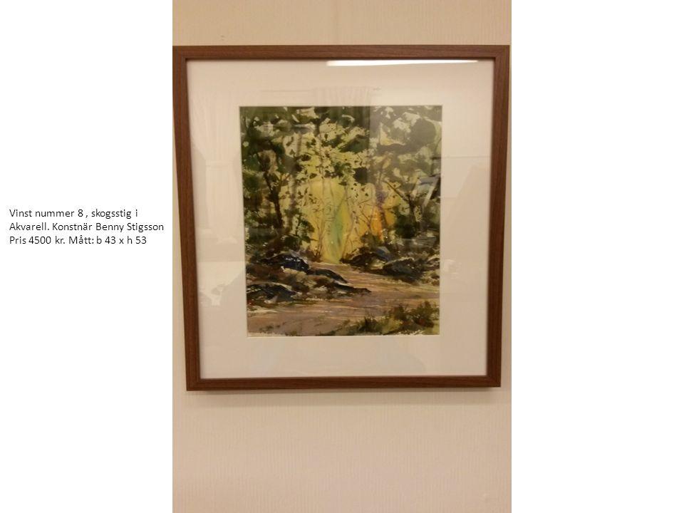 Vinst nummer 8, skogsstig i Akvarell. Konstnär Benny Stigsson Pris 4500 kr. Mått: b 43 x h 53