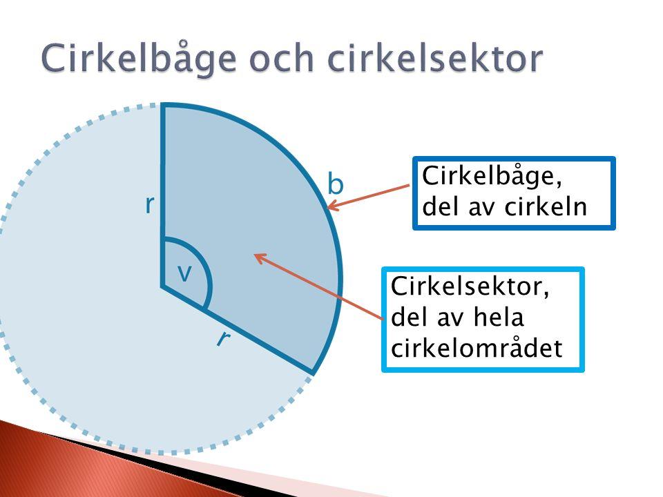 Cirkelbåge, del av cirkeln Cirkelsektor, del av hela cirkelområdet