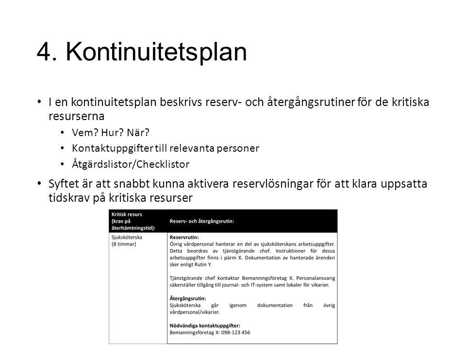 4. Kontinuitetsplan I en kontinuitetsplan beskrivs reserv- och återgångsrutiner för de kritiska resurserna Vem? Hur? När? Kontaktuppgifter till releva