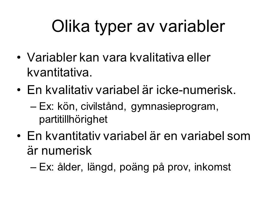 Variabler kan vara kvalitativa eller kvantitativa. En kvalitativ variabel är icke-numerisk. –Ex: kön, civilstånd, gymnasieprogram, partitillhörighet E