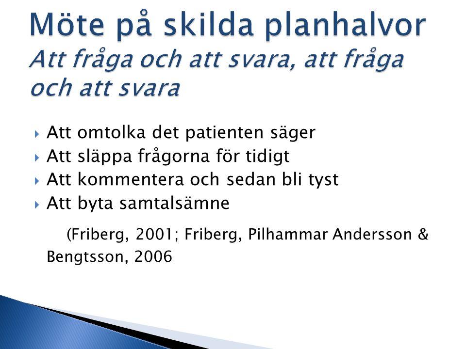 Att omtolka det patienten säger  Att släppa frågorna för tidigt  Att kommentera och sedan bli tyst  Att byta samtalsämne (Friberg, 2001; Friberg, Pilhammar Andersson & Bengtsson, 2006