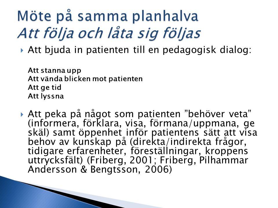  Att bjuda in patienten till en pedagogisk dialog: Att stanna upp Att vända blicken mot patienten Att ge tid Att lyssna  Att peka på något som patienten behöver veta (informera, förklara, visa, förmana/uppmana, ge skäl) samt öppenhet inför patientens sätt att visa behov av kunskap på (direkta/indirekta frågor, tidigare erfarenheter, föreställningar, kroppens uttrycksfält) (Friberg, 2001; Friberg, Pilhammar Andersson & Bengtsson, 2006)