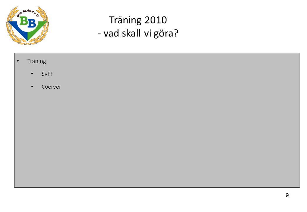 9 Träning 2010 - vad skall vi göra Träning SvFF Coerver