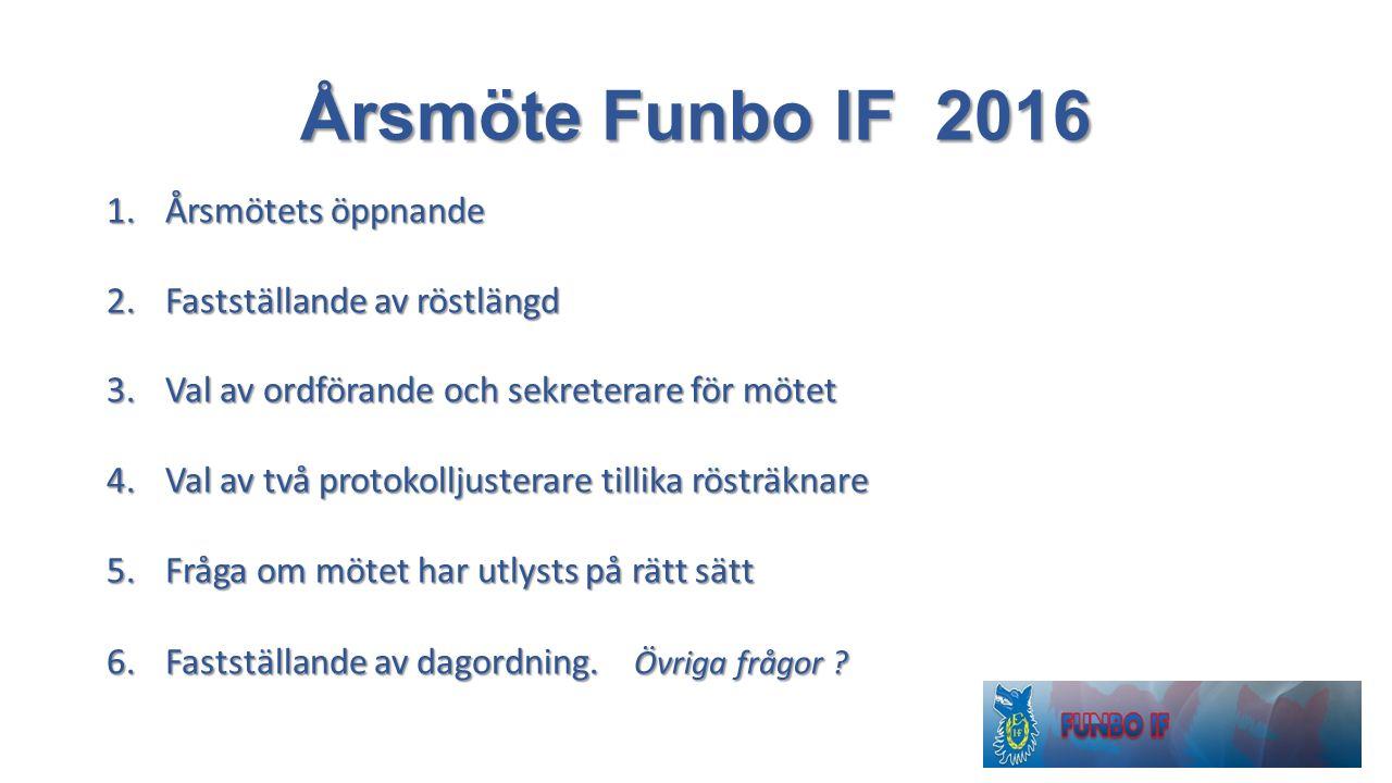 Årsmöte Funbo IF 2016 1.Årsmötets öppnande 2.Fastställande av röstlängd 3.Val av ordförande och sekreterare för mötet 4.Val av två protokolljusterare