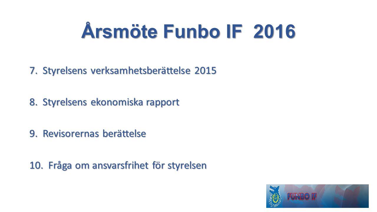 Årsmöte Funbo IF 2016 7. Styrelsens verksamhetsberättelse 2015 8. Styrelsens ekonomiska rapport 9. Revisorernas berättelse 10. Fråga om ansvarsfrihet