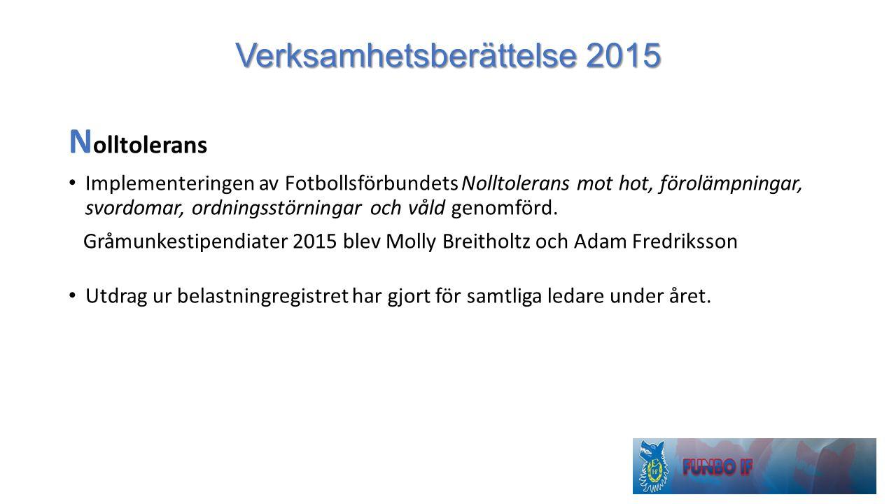 Verksamhetsberättelse 2015 N olltolerans Implementeringen av Fotbollsförbundets Nolltolerans mot hot, förolämpningar, svordomar, ordningsstörningar oc