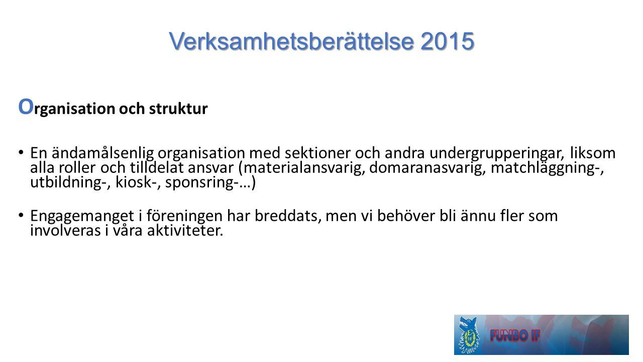 Verksamhetsberättelse 2015 O rganisation och struktur En ändamålsenlig organisation med sektioner och andra undergrupperingar, liksom alla roller och