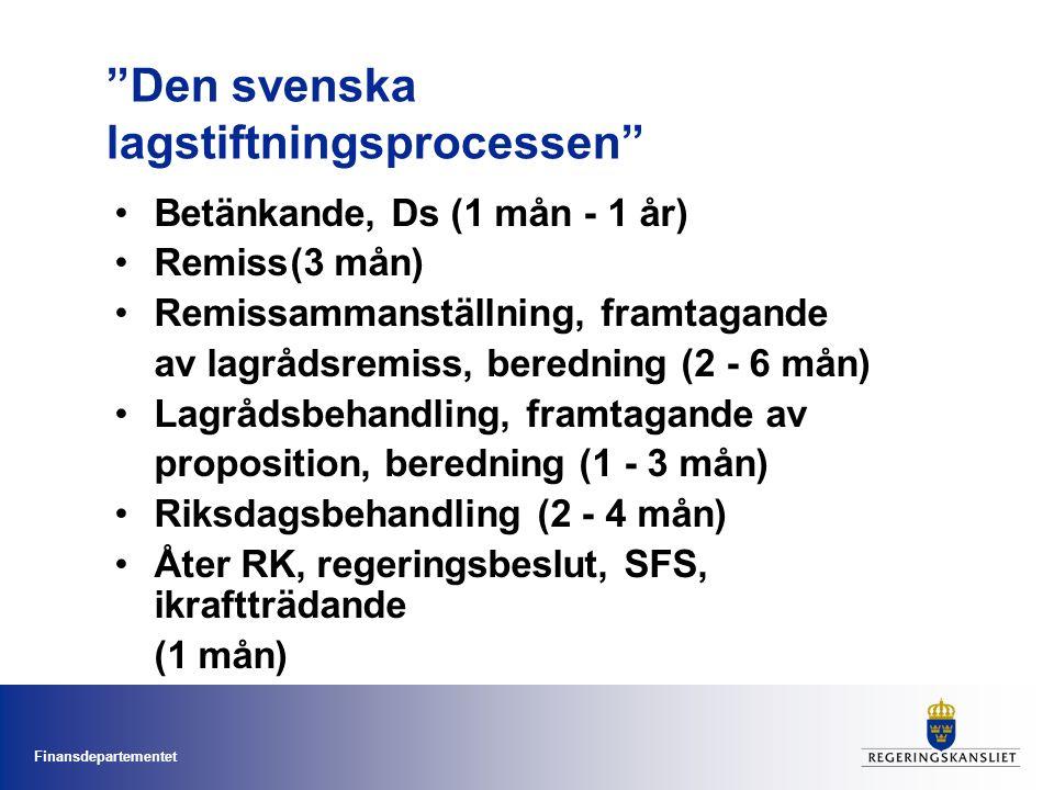 Finansdepartementet Den svenska lagstiftningsprocessen Betänkande, Ds (1 mån - 1 år) Remiss(3 mån) Remissammanställning, framtagande av lagrådsremiss, beredning (2 - 6 mån) Lagrådsbehandling, framtagande av proposition, beredning (1 - 3 mån) Riksdagsbehandling (2 - 4 mån) Åter RK, regeringsbeslut, SFS, ikraftträdande (1 mån)