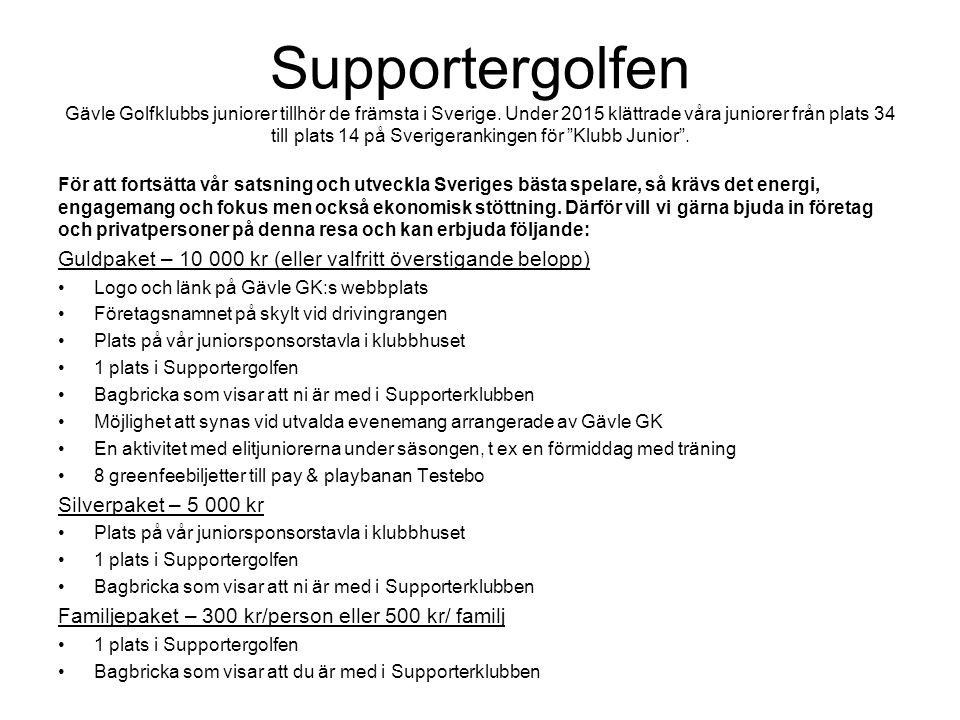 Supportergolfen Gävle Golfklubbs juniorer tillhör de främsta i Sverige. Under 2015 klättrade våra juniorer från plats 34 till plats 14 på Sverigeranki