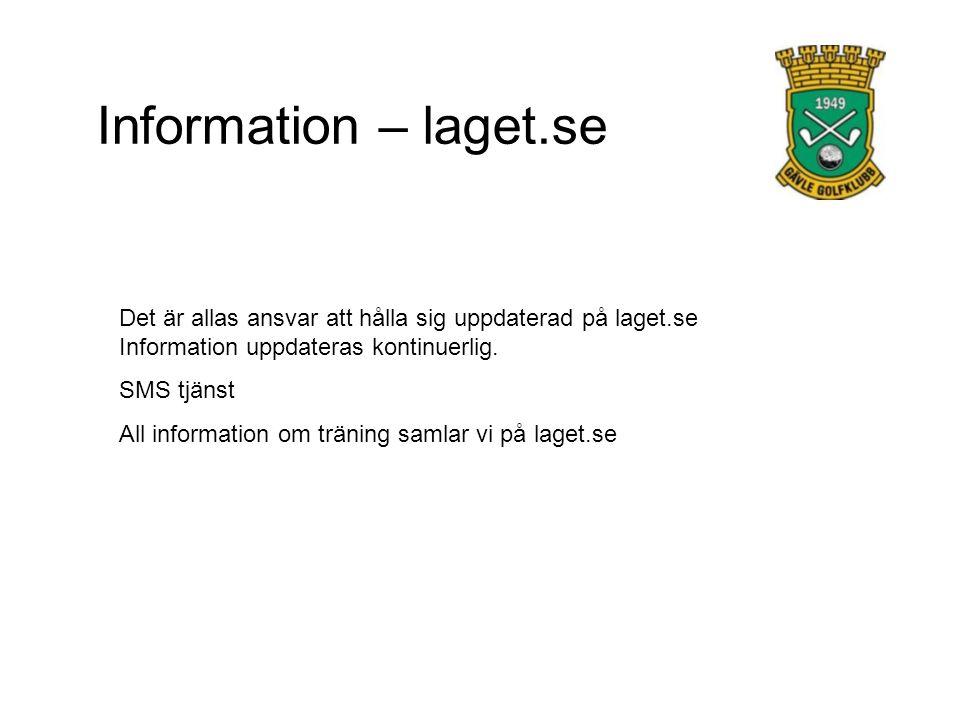 Information – laget.se Det är allas ansvar att hålla sig uppdaterad på laget.se Information uppdateras kontinuerlig. SMS tjänst All information om trä