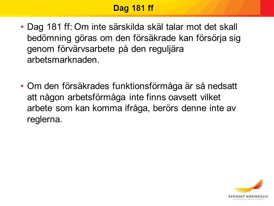 Dag 181 ff Dag 181 ff: Om inte särskilda skäl talar mot det skall bedömning göras om den försäkrade kan försörja sig genom förvärvsarbete på den reguljära arbetsmarknaden.