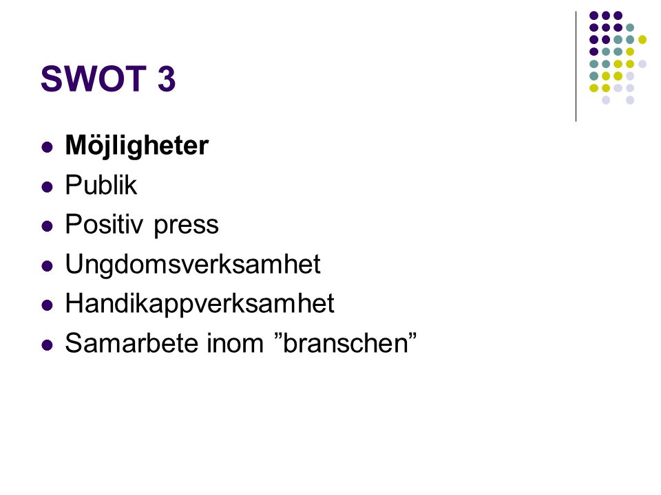 "SWOT 3 Möjligheter Publik Positiv press Ungdomsverksamhet Handikappverksamhet Samarbete inom ""branschen"""