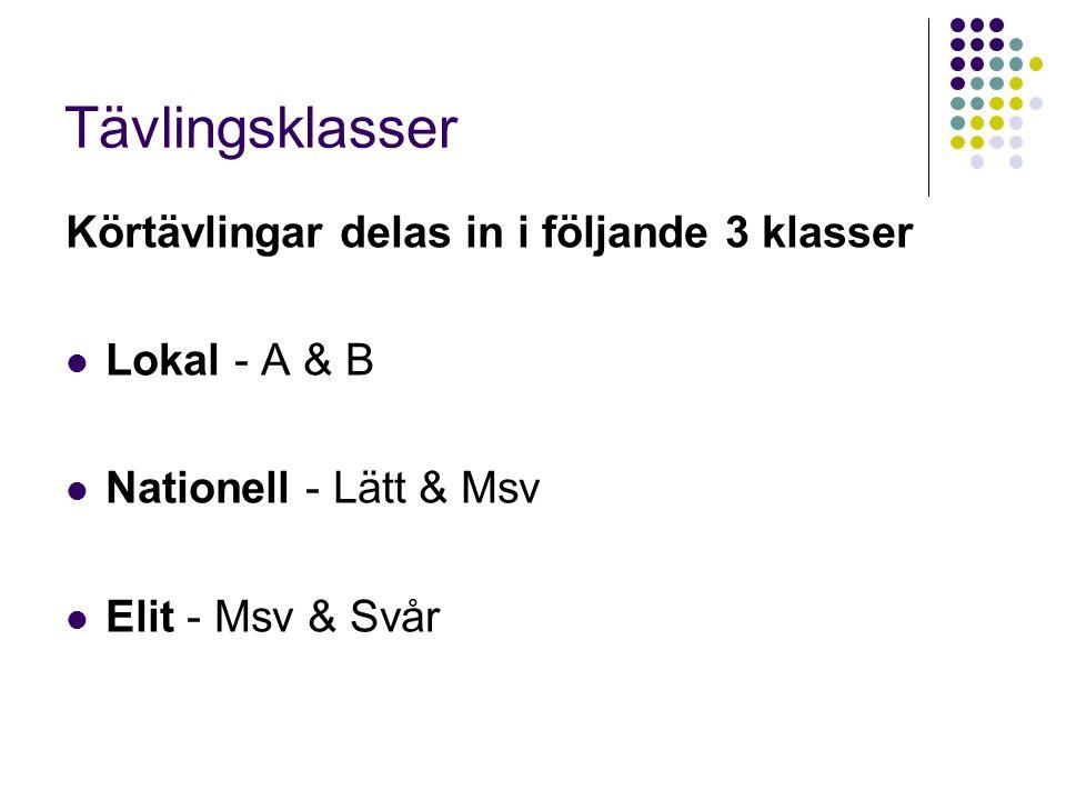 Tävlingsklasser Körtävlingar delas in i följande 3 klasser Lokal - A & B Nationell - Lätt & Msv Elit - Msv & Svår