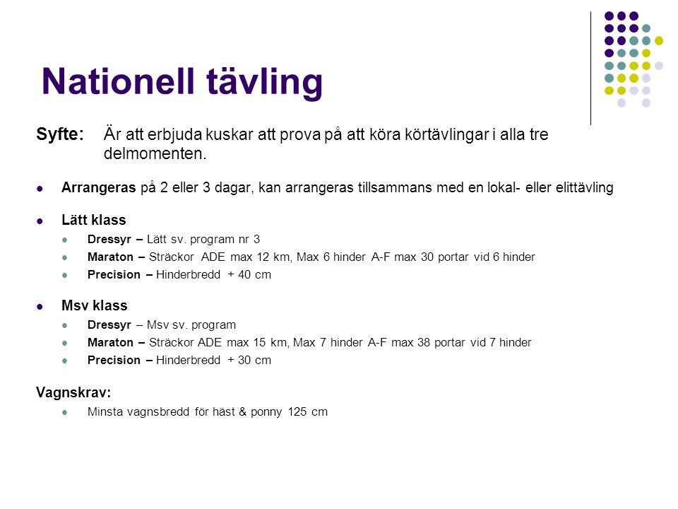Nationell tävling Syfte:Ä r att erbjuda kuskar att prova på att köra körtävlingar i alla tre delmomenten. Arrangeras på 2 eller 3 dagar, kan arrangera