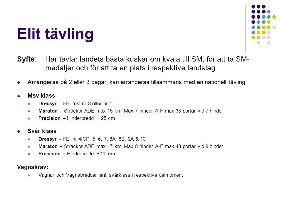 Elit tävling Syfte:Här tävlar landets bästa kuskar om kvala till SM, för att ta SM- medaljer och för att ta en plats i respektive landslag.